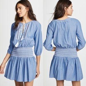 Shoshanna Chambray Embroidery Smocked Waist Dress